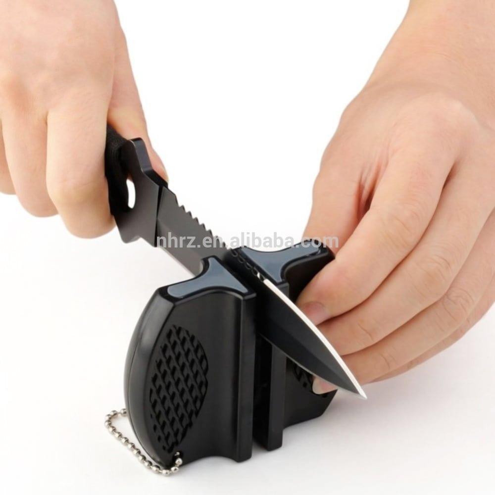 Factory wholesale V-Shape Kitchen 1 Stage Knife Sharpener - 2-Step Pocket Knife Sharpener with Key Chain – Renzhen