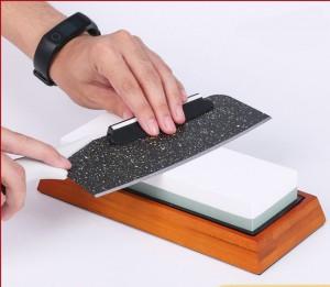 Wholesale durable Aluminum Oxide knife sharpener Silicon Carbide sharping stone bamboo base whetstone